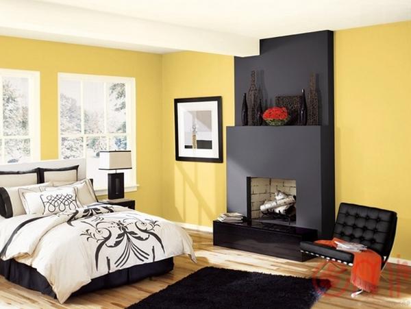 Giấy dán tường màu vàng – Phòng ngủ tràn ngập sự ấm áp